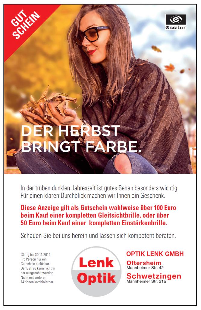 Gutschein Optik Lenk Herbst 2019